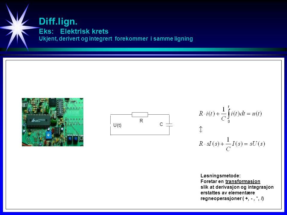 Diff.lign. Eks: Elektrisk krets Ukjent, derivert og integrert forekommer i samme ligning R C U(t) Løsningsmetode: Foretar en transformasjon slik at de