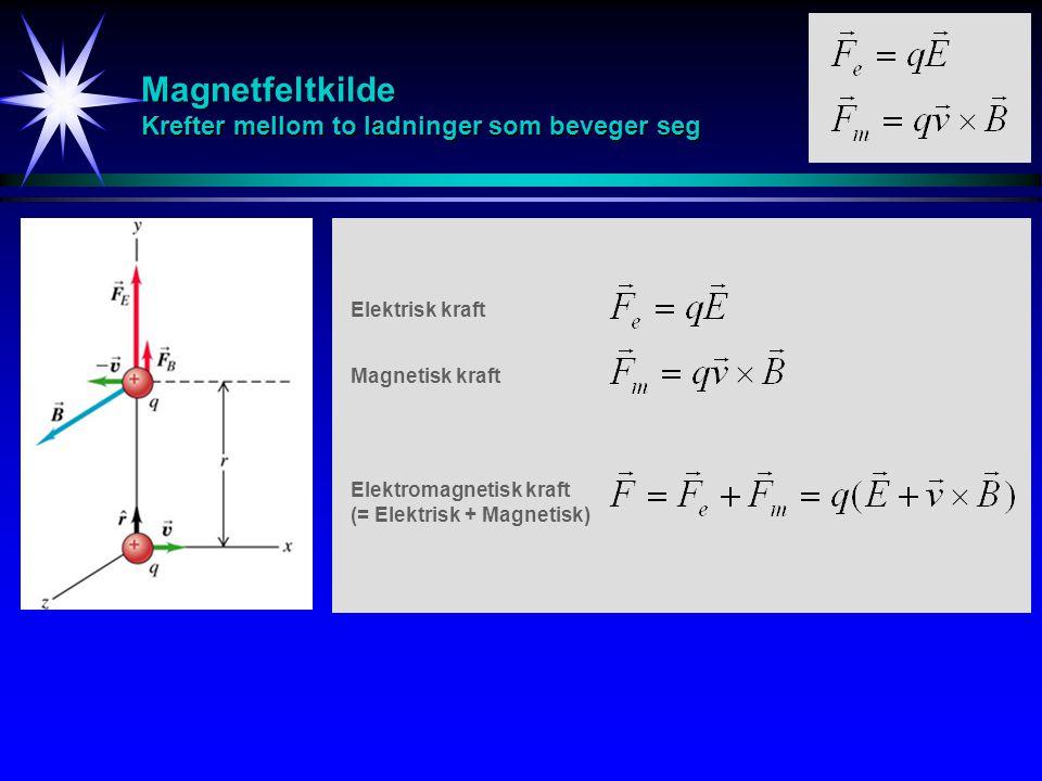 Magnetfeltkilde Krefter mellom to ladninger som beveger seg Elektrisk kraft Magnetisk kraft Elektromagnetisk kraft (= Elektrisk + Magnetisk)