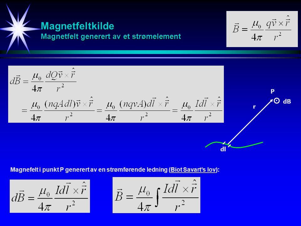 Magnetfeltkilde Magnetfelt generert av et strømelement r dB P Magnefelt i punkt P generert av en strømførende ledning (Biot Savart's lov): dl.