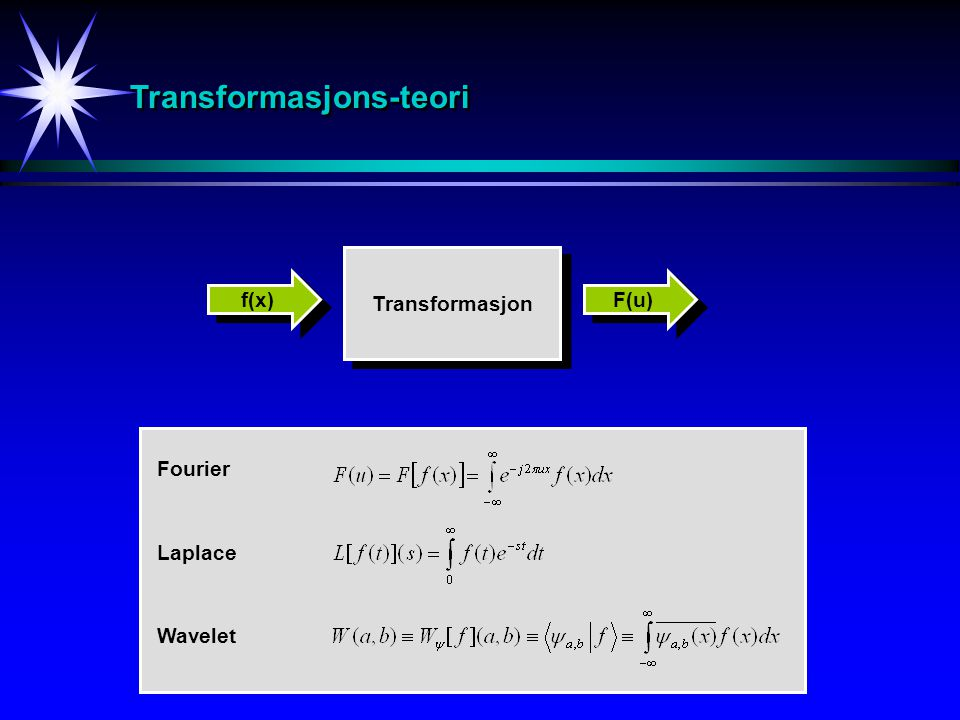 Transformasjons-teoriTransformasjons-teori Transformasjon f(x) F(u) Fourier Wavelet Laplace