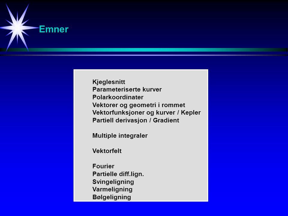Emner Kjeglesnitt Parameteriserte kurver Polarkoordinater Vektorer og geometri i rommet Vektorfunksjoner og kurver / Kepler Partiell derivasjon / Grad