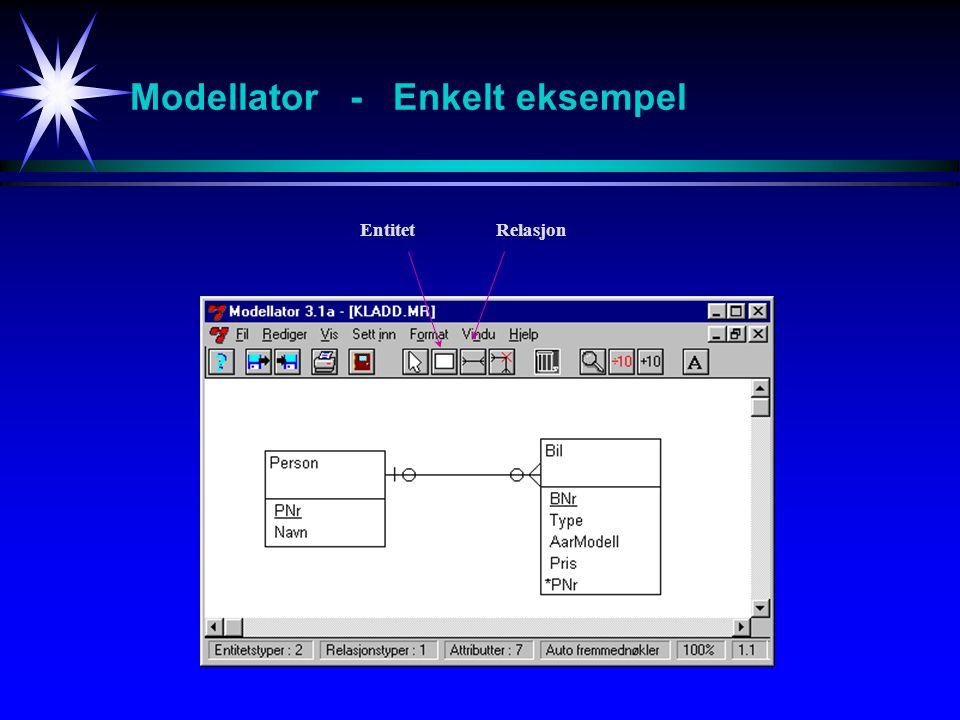 Modellator - Enkelt eksempel EntitetRelasjon