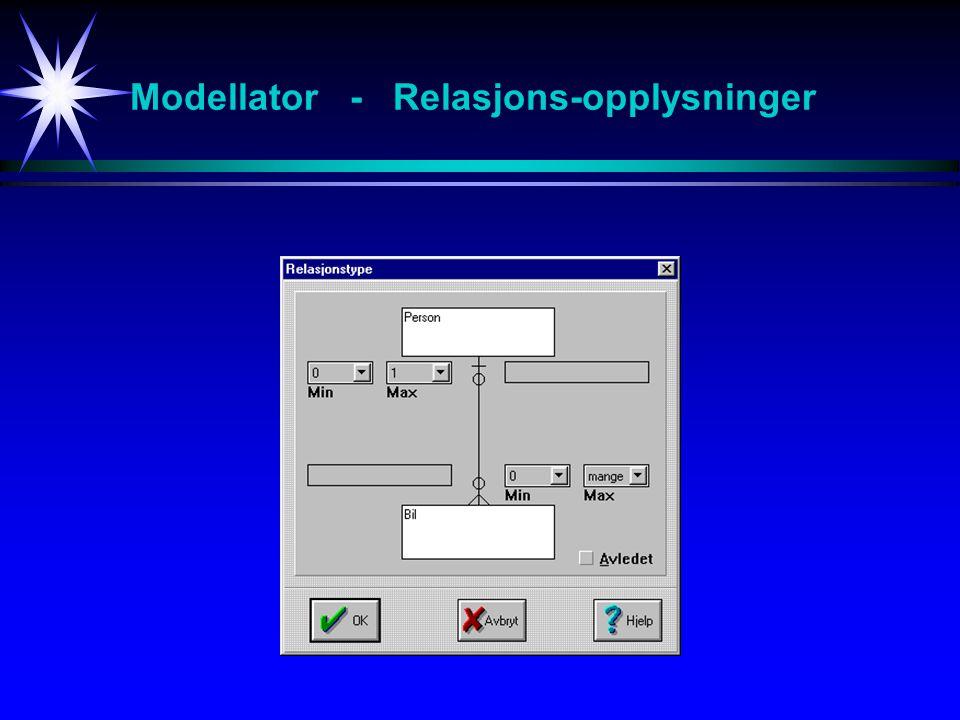 Modellator - Relasjons-opplysninger