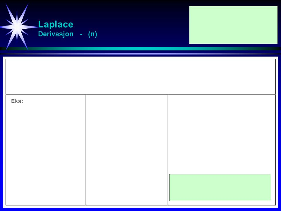 Laplace Derivasjon - (n) Eks: