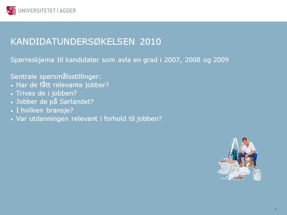5 KANDIDATUNDERSØKELSEN 2010 Spørreskjema til kandidater som avla en grad i 2007, 2008 og 2009 Sentrale spørsmålsstillinger: Har de fått relevante job
