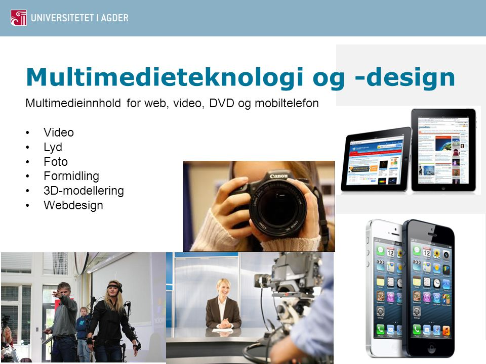 Multimedieteknologi og -design Multimedieinnhold for web, video, DVD og mobiltelefon Video Lyd Foto Formidling 3D-modellering Webdesign