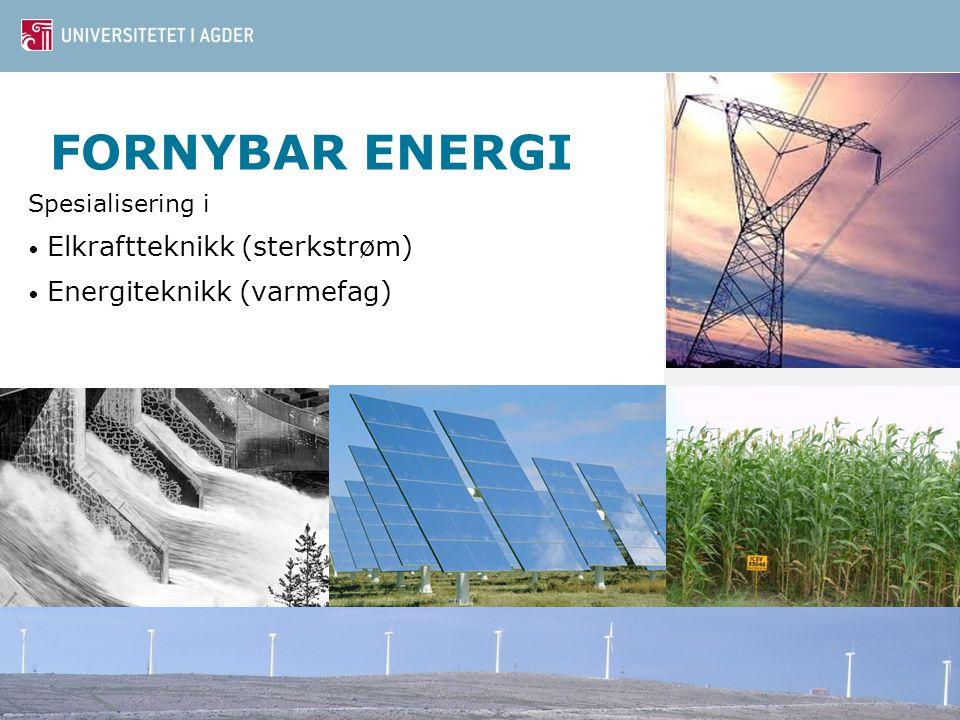FORNYBAR ENERGI Spesialisering i Elkraftteknikk (sterkstrøm) Energiteknikk (varmefag)