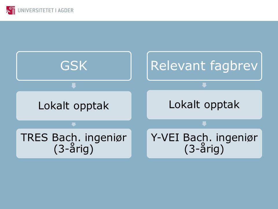 GSK Lokalt opptak TRES Bach. ingeniør (3-årig) Relevant fagbrev Lokalt opptak Y-VEI Bach. ingeniør (3-årig)