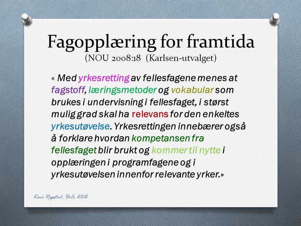 Fagopplæring for framtida (NOU 2008:18 (Karlsen-utvalget) « Med yrkesretting av fellesfagene menes at fagstoff, læringsmetoder og vokabular som brukes