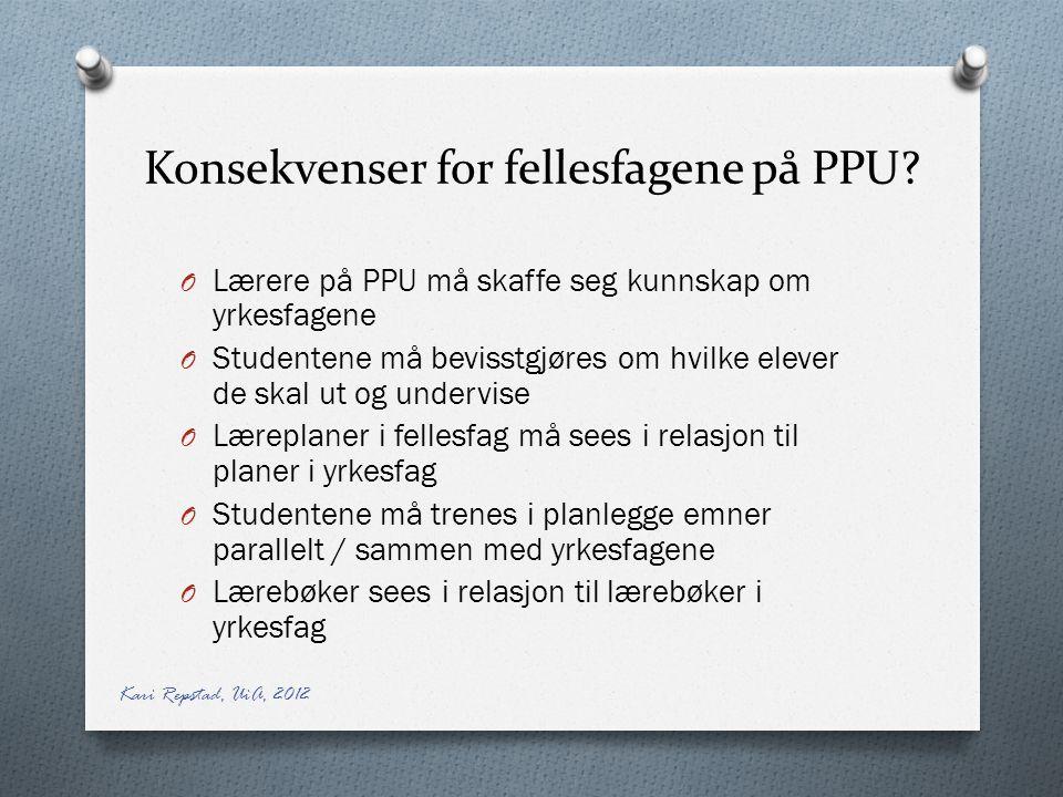 Konsekvenser for fellesfagene på PPU.