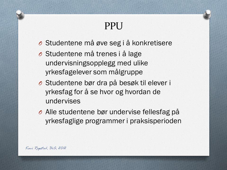 PPU O Studentene må øve seg i å konkretisere O Studentene må trenes i å lage undervisningsopplegg med ulike yrkesfagelever som målgruppe O Studentene