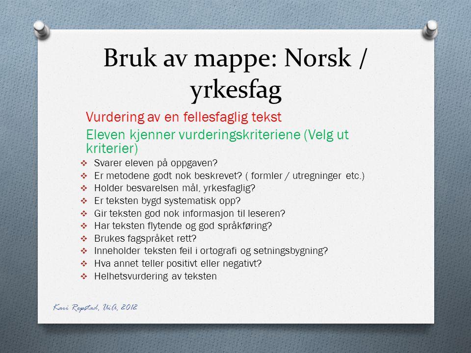 Bruk av mappe: Norsk / yrkesfag Vurdering av en fellesfaglig tekst Eleven kjenner vurderingskriteriene (Velg ut kriterier)  Svarer eleven på oppgaven