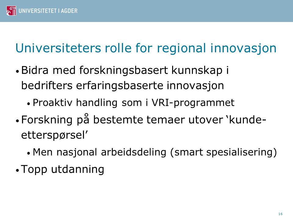 Universiteters rolle for regional innovasjon Bidra med forskningsbasert kunnskap i bedrifters erfaringsbaserte innovasjon Proaktiv handling som i VRI-