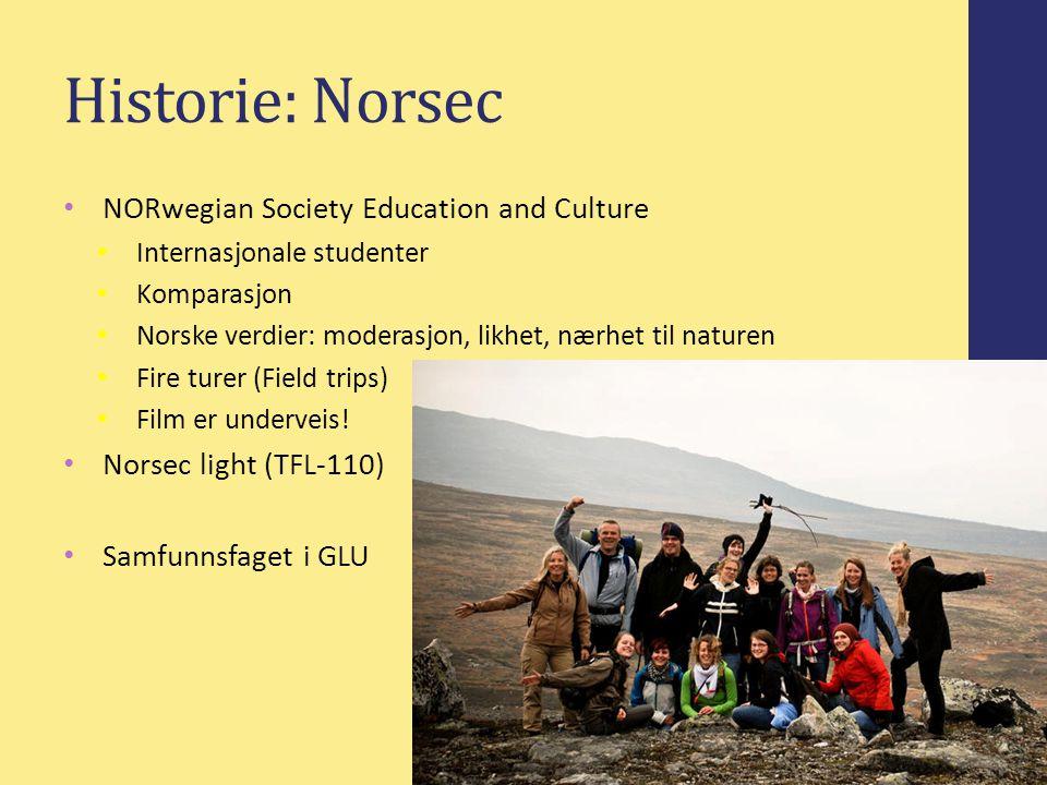 Historie: Norsec NORwegian Society Education and Culture Internasjonale studenter Komparasjon Norske verdier: moderasjon, likhet, nærhet til naturen Fire turer (Field trips) Film er underveis.