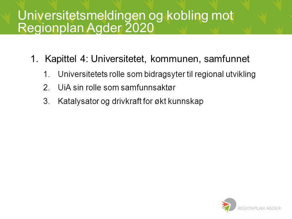 Universitetsmeldingen og kobling mot Regionplan Agder 2020 1.Kapittel 4: Universitetet, kommunen, samfunnet 1.Universitetets rolle som bidragsyter til