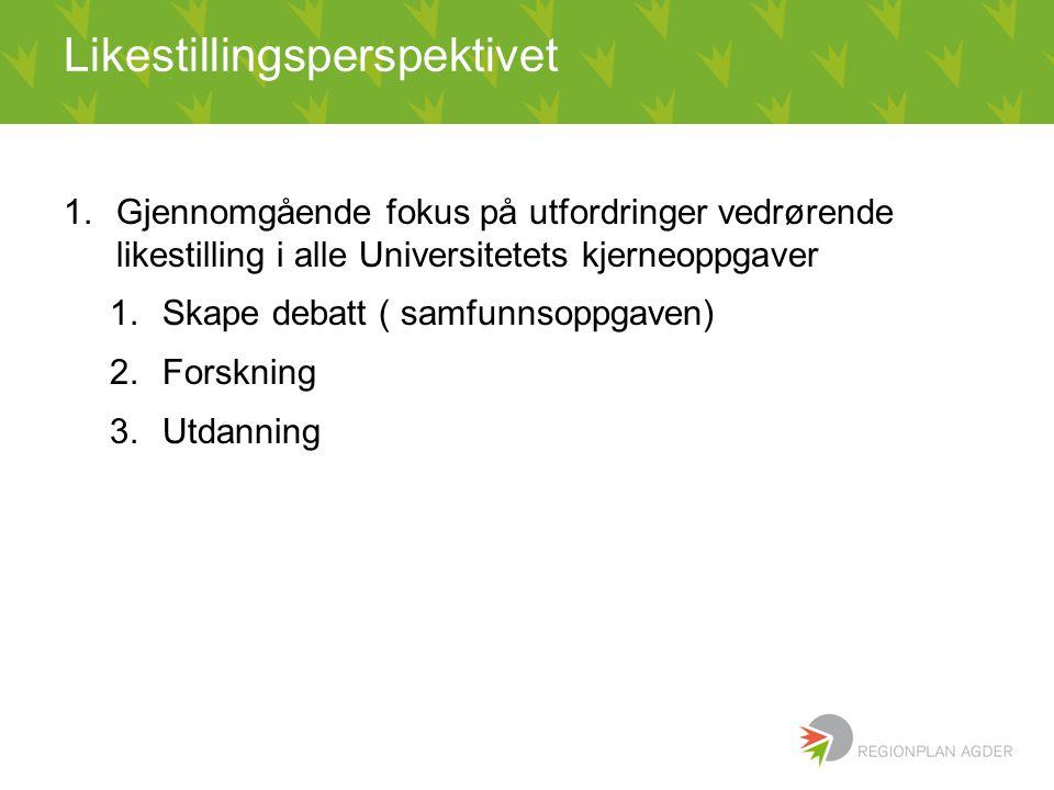 Likestillingsperspektivet 1.Gjennomgående fokus på utfordringer vedrørende likestilling i alle Universitetets kjerneoppgaver 1.Skape debatt ( samfunns