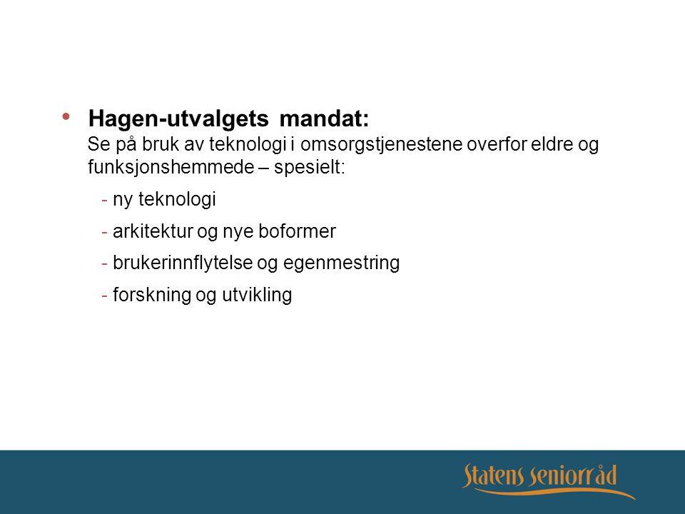 Hagen-utvalgets mandat: Se på bruk av teknologi i omsorgstjenestene overfor eldre og funksjonshemmede – spesielt: - ny teknologi - arkitektur og nye b