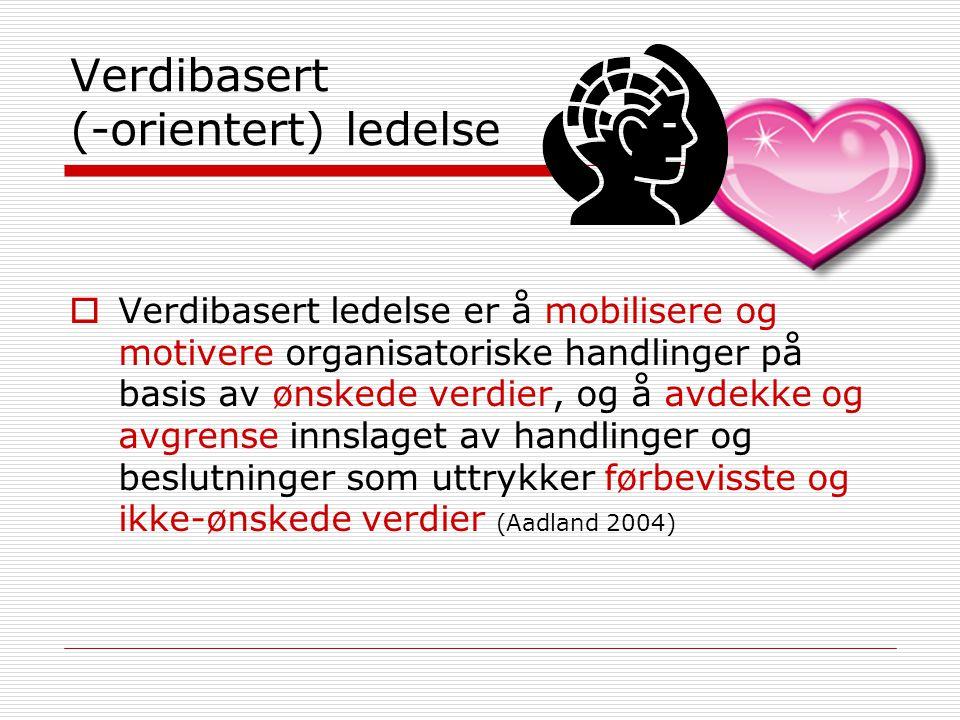 Verdibasert (-orientert) ledelse  Verdibasert ledelse er å mobilisere og motivere organisatoriske handlinger på basis av ønskede verdier, og å avdekk