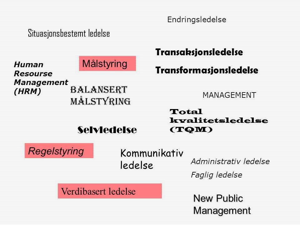 Situasjonsbestemt ledelse Målstyring Regelstyring Balansert målstyring Transaksjonsledelse Transformasjonsledelse Selvledelse Kommunikativ ledelse Tot