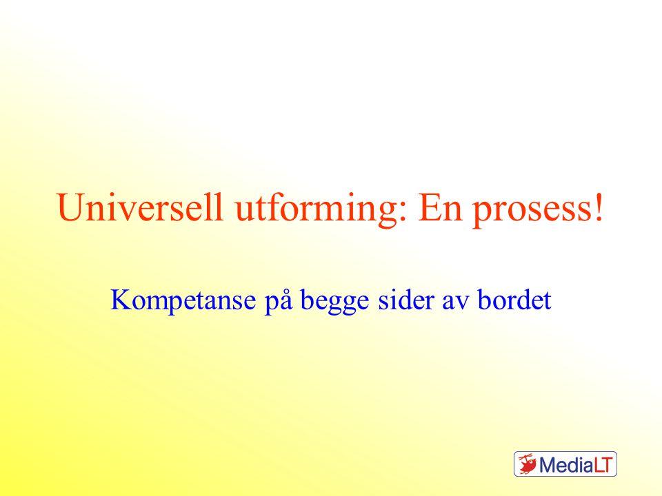 Universell utforming: En prosess! Kompetanse på begge sider av bordet