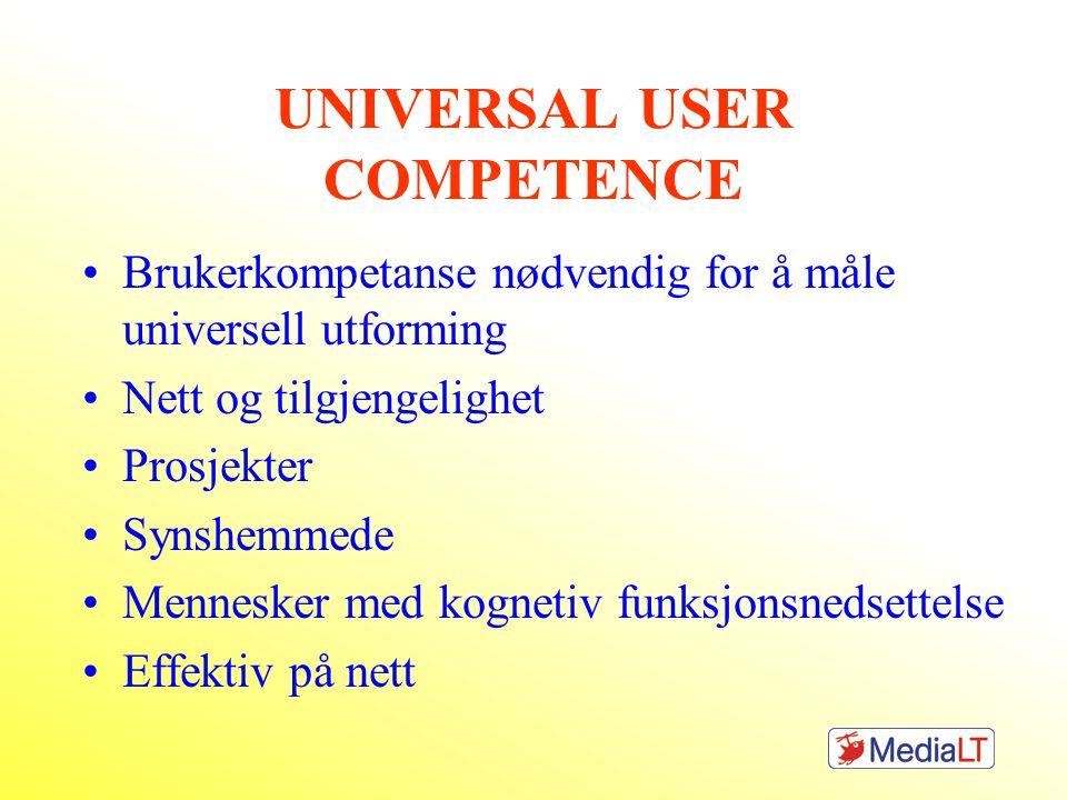 UNIVERSAL USER COMPETENCE Brukerkompetanse nødvendig for å måle universell utforming Nett og tilgjengelighet Prosjekter Synshemmede Mennesker med kognetiv funksjonsnedsettelse Effektiv på nett