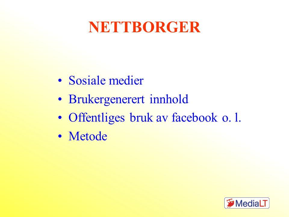 NETTBORGER Sosiale medier Brukergenerert innhold Offentliges bruk av facebook o. l. Metode