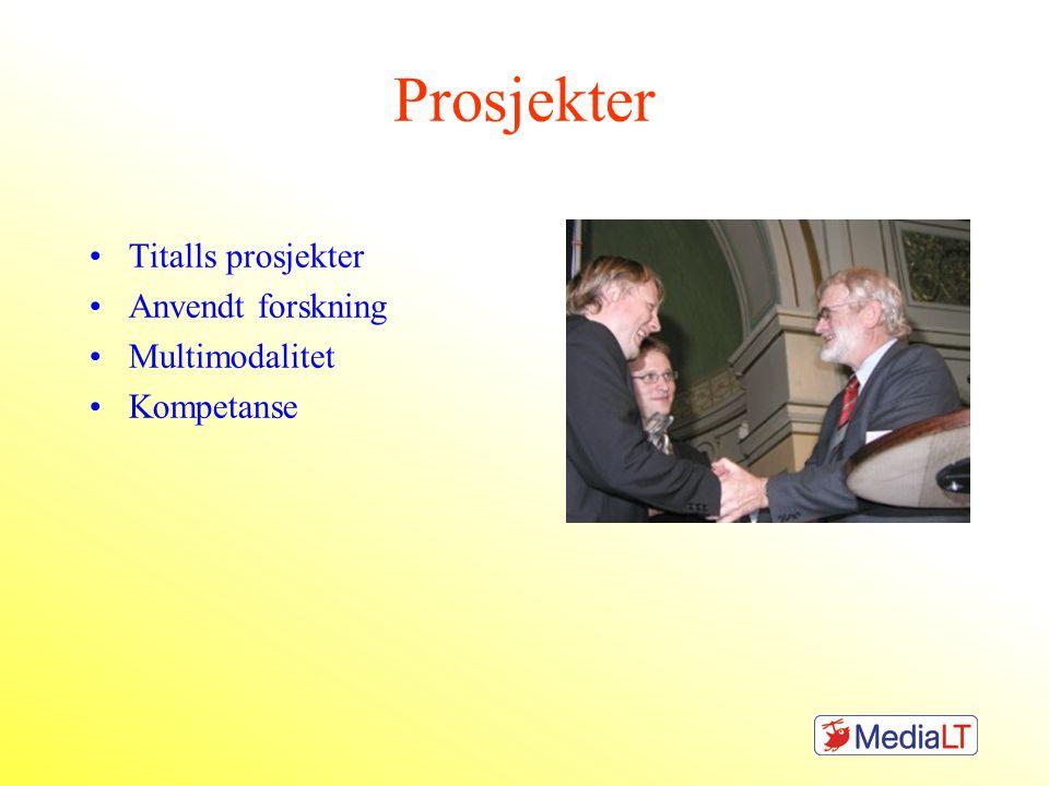 Prosjekter Titalls prosjekter Anvendt forskning Multimodalitet Kompetanse