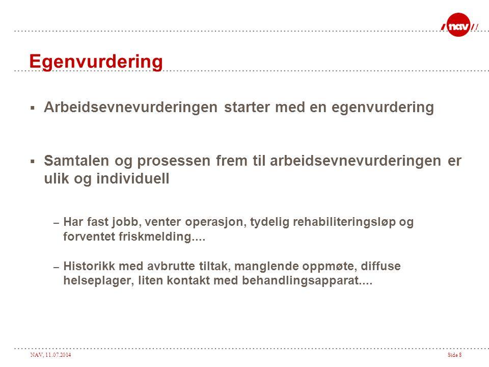 NAV, 11.07.2014Side 8 Egenvurdering  Arbeidsevnevurderingen starter med en egenvurdering  Samtalen og prosessen frem til arbeidsevnevurderingen er u