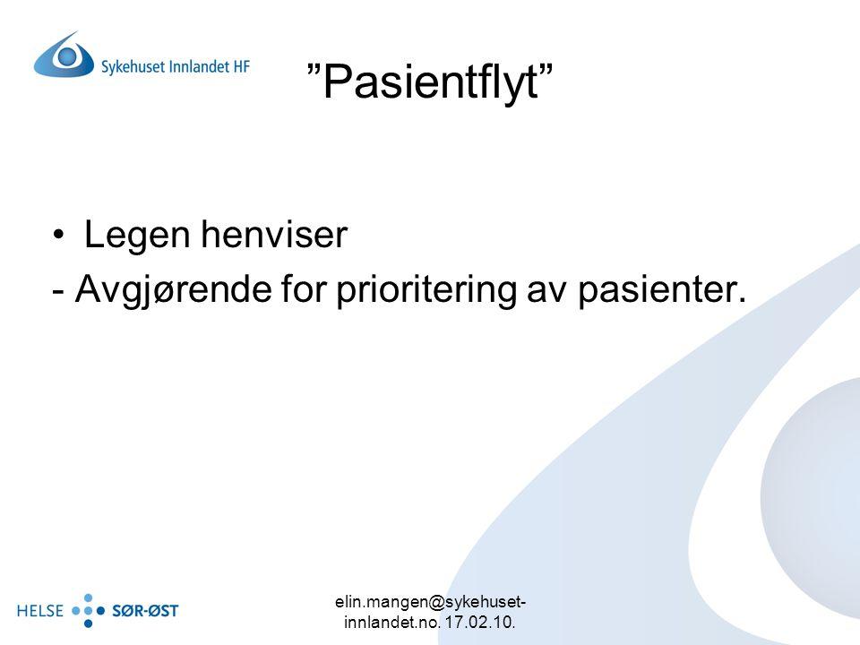 """elin.mangen@sykehuset- innlandet.no. 17.02.10. """"Pasientflyt"""" Legen henviser - Avgjørende for prioritering av pasienter."""