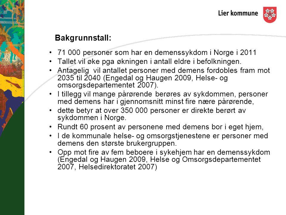 Bakgrunnstall: 71 000 personer som har en demenssykdom i Norge i 2011 Tallet vil øke pga økningen i antall eldre i befolkningen. Antagelig vil antalle