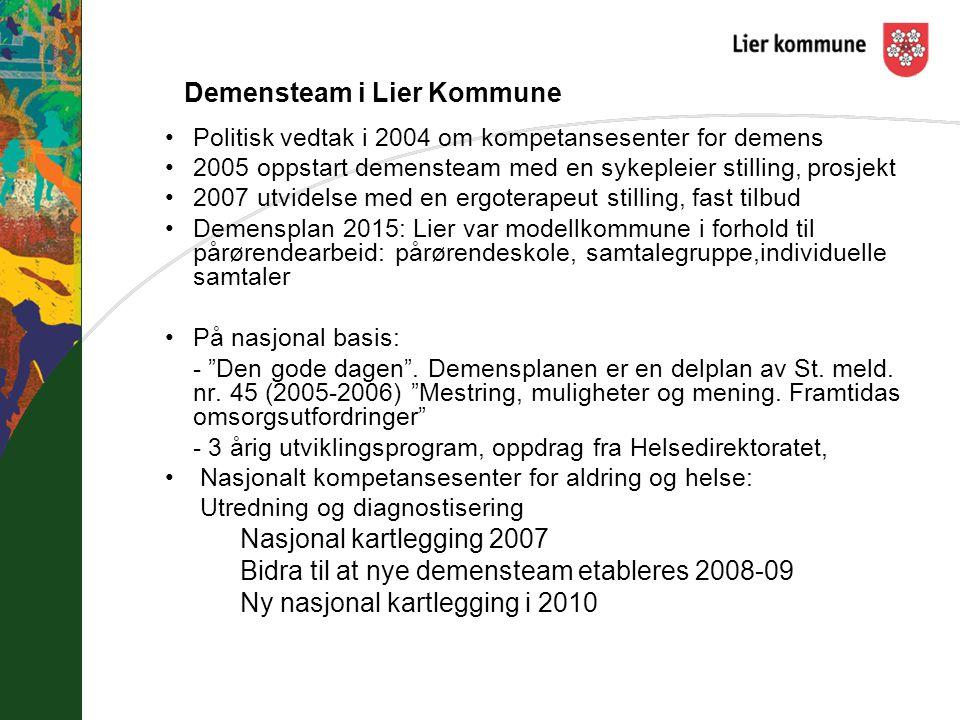 Demensteam i Lier Kommune Politisk vedtak i 2004 om kompetansesenter for demens 2005 oppstart demensteam med en sykepleier stilling, prosjekt 2007 utv