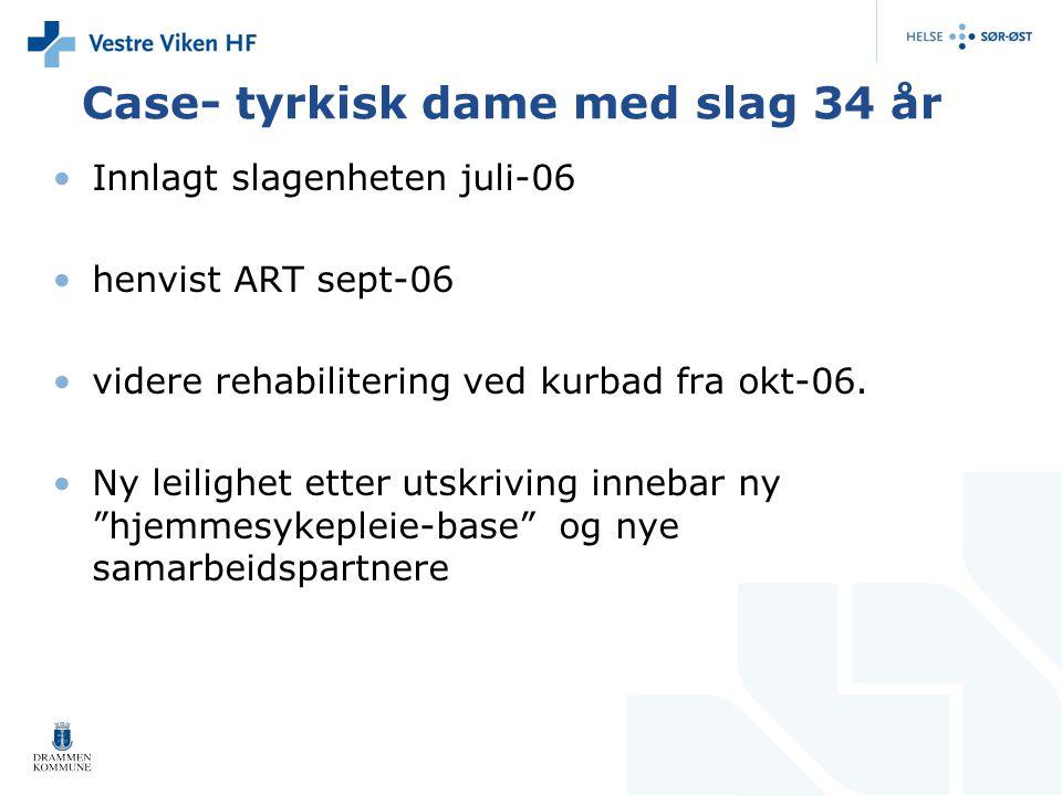 Case- tyrkisk dame med slag 34 år Innlagt slagenheten juli-06 henvist ART sept-06 videre rehabilitering ved kurbad fra okt-06. Ny leilighet etter utsk
