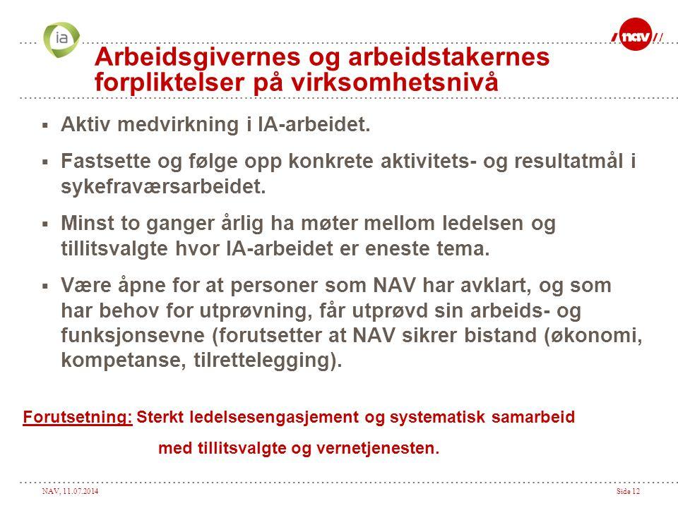 NAV, 11.07.2014Side 12 Arbeidsgivernes og arbeidstakernes forpliktelser på virksomhetsnivå  Aktiv medvirkning i IA-arbeidet.  Fastsette og følge opp