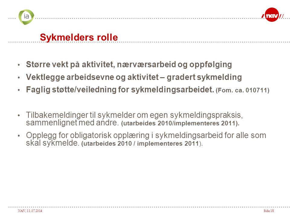 NAV, 11.07.2014Side 18 Sykmelders rolle Større vekt på aktivitet, nærværsarbeid og oppfølging Vektlegge arbeidsevne og aktivitet – gradert sykmelding