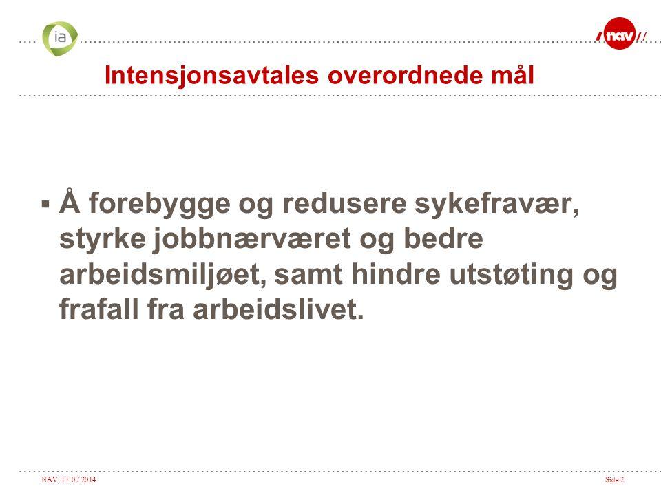 NAV, 11.07.2014Side 2 Intensjonsavtales overordnede mål  Å forebygge og redusere sykefravær, styrke jobbnærværet og bedre arbeidsmiljøet, samt hindre