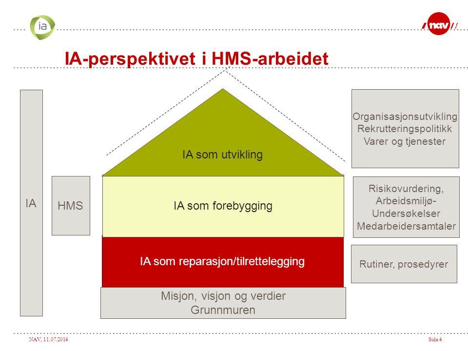 NAV, 11.07.2014Side 4 IA som reparasjon/tilrettelegging IA som forebygging IA som utvikling Rutiner, prosedyrer Risikovurdering, Arbeidsmiljø- Undersø