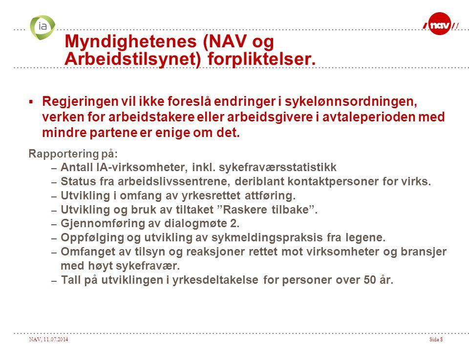 NAV, 11.07.2014Side 8 Myndighetenes (NAV og Arbeidstilsynet) forpliktelser.  Regjeringen vil ikke foreslå endringer i sykelønnsordningen, verken for
