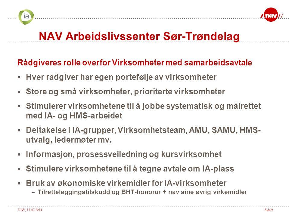NAV, 11.07.2014Side 9 NAV Arbeidslivssenter Sør-Trøndelag Rådgiveres rolle overfor Virksomheter med samarbeidsavtale  Hver rådgiver har egen porteføl