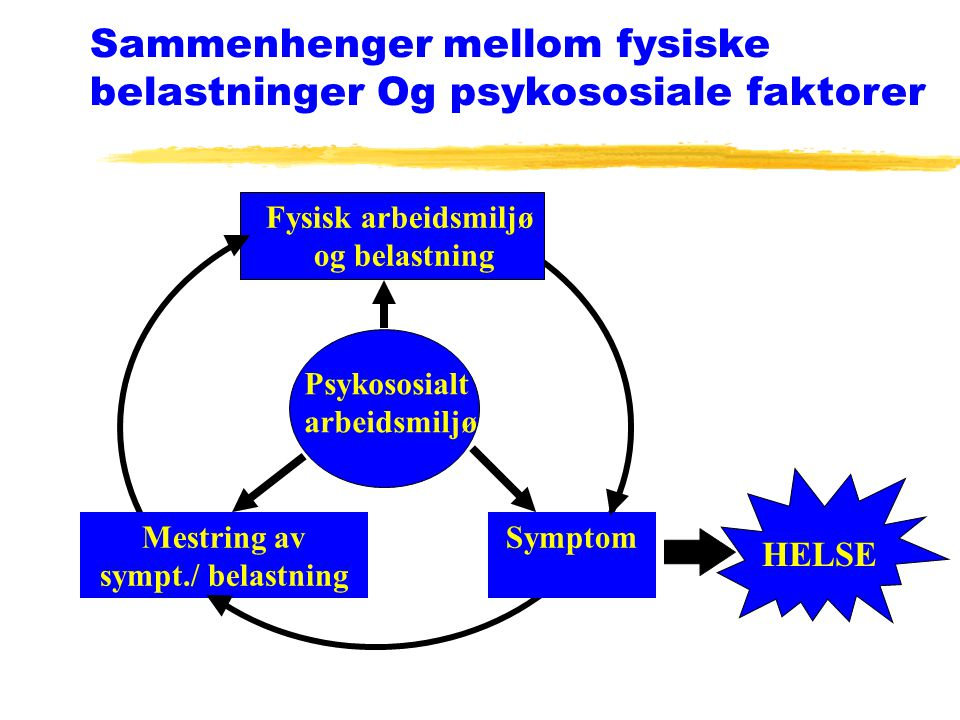 Sammenhenger mellom fysiske belastninger Og psykososiale faktorer Psykososialt arbeidsmiljø SymptomMestring av sympt./ belastning Fysisk arbeidsmiljø og belastning HELSE