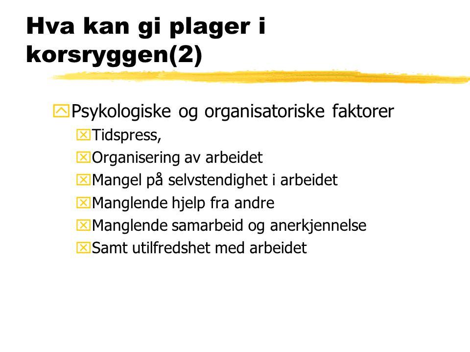 Hva kan gi plager i korsryggen(2) yPsykologiske og organisatoriske faktorer xTidspress, xOrganisering av arbeidet xMangel på selvstendighet i arbeidet xManglende hjelp fra andre xManglende samarbeid og anerkjennelse xSamt utilfredshet med arbeidet