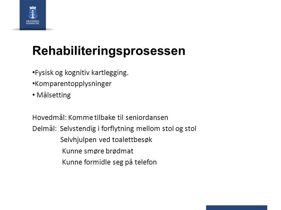 Rehabiliteringsprosessen Fysisk og kognitiv kartlegging. Komparentopplysninger Målsetting Hovedmål: Komme tilbake til seniordansen Delmål: Selvstendig