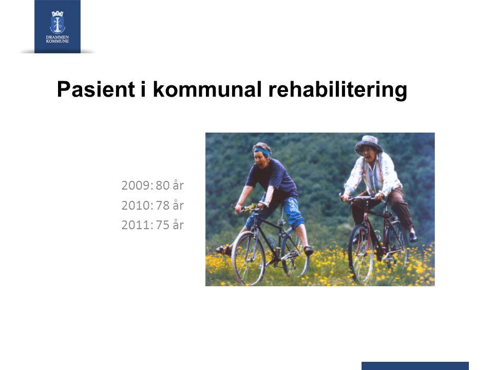 Pasient i kommunal rehabilitering 2009: 80 år 2010: 78 år 2011: 75 år