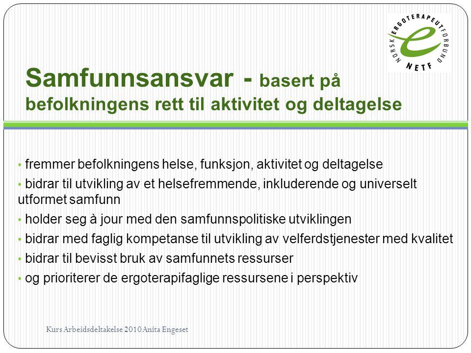 Samfunnsansvar - basert på befolkningens rett til aktivitet og deltagelse fremmer befolkningens helse, funksjon, aktivitet og deltagelse bidrar til ut
