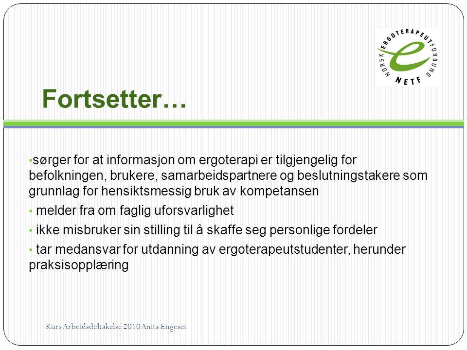 Fortsetter… sørger for at informasjon om ergoterapi er tilgjengelig for befolkningen, brukere, samarbeidspartnere og beslutningstakere som grunnlag fo