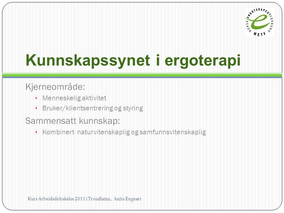 Kunnskapssynet i ergoterapi Kjerneområde: Menneskelig aktivitet Bruker/klientsentrering og styring Sammensatt kunnskap: Kombinert naturvitenskaplig og