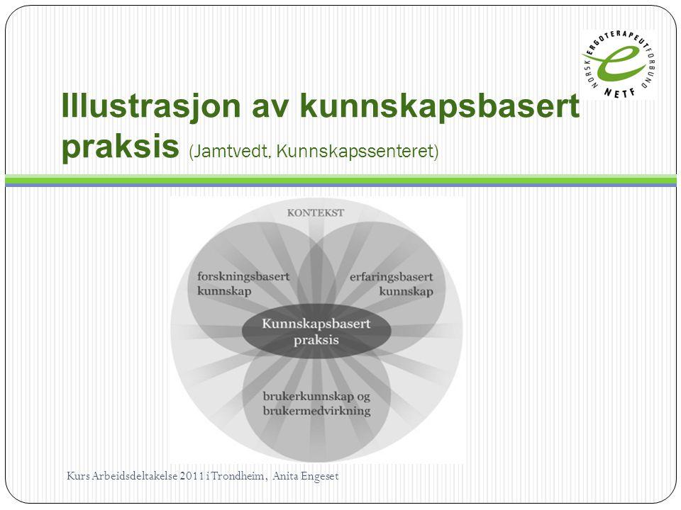 Illustrasjon av kunnskapsbasert praksis (Jamtvedt, Kunnskapssenteret) Kurs Arbeidsdeltakelse 2011 i Trondheim, Anita Engeset