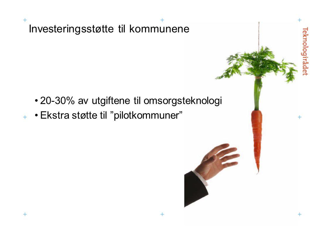 """Investeringsstøtte til kommunene 20-30% av utgiftene til omsorgsteknologi Ekstra støtte til """"pilotkommuner"""""""