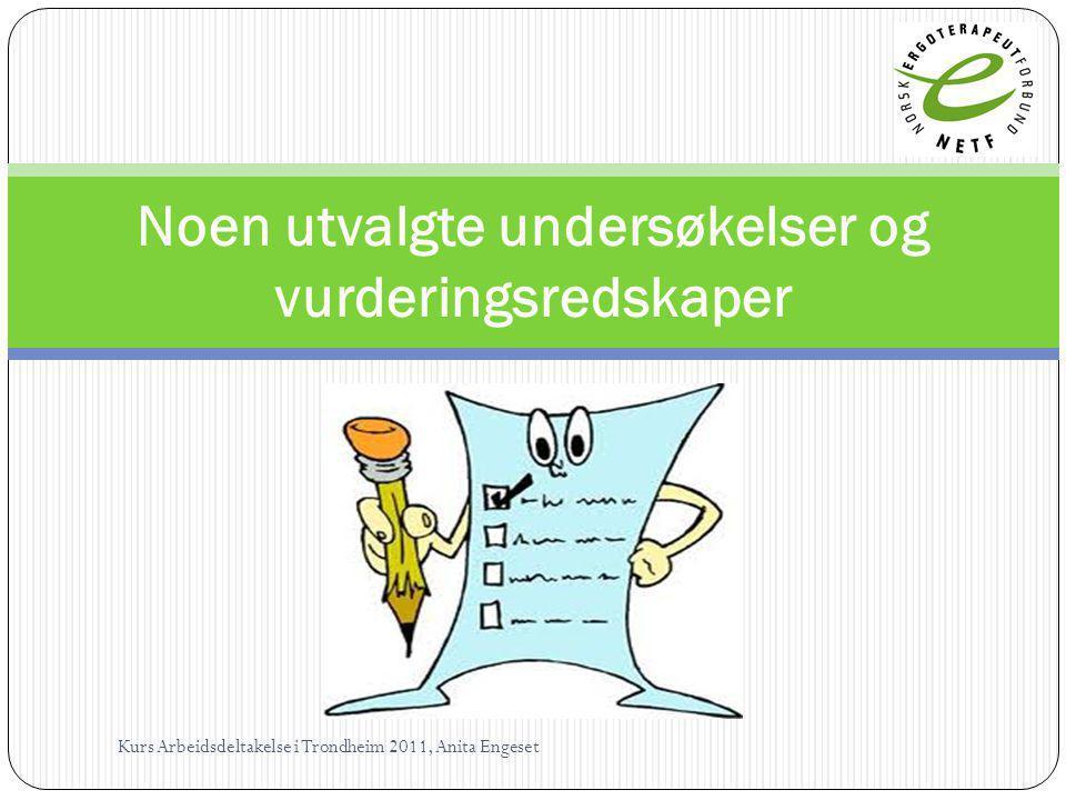 Noen utvalgte undersøkelser og vurderingsredskaper Kurs Arbeidsdeltakelse i Trondheim 2011, Anita Engeset
