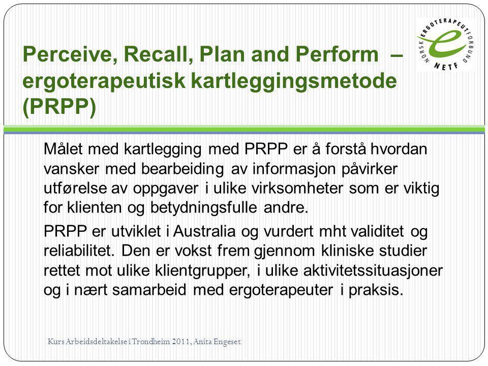 Perceive, Recall, Plan and Perform – ergoterapeutisk kartleggingsmetode (PRPP) Målet med kartlegging med PRPP er å forstå hvordan vansker med bearbeid