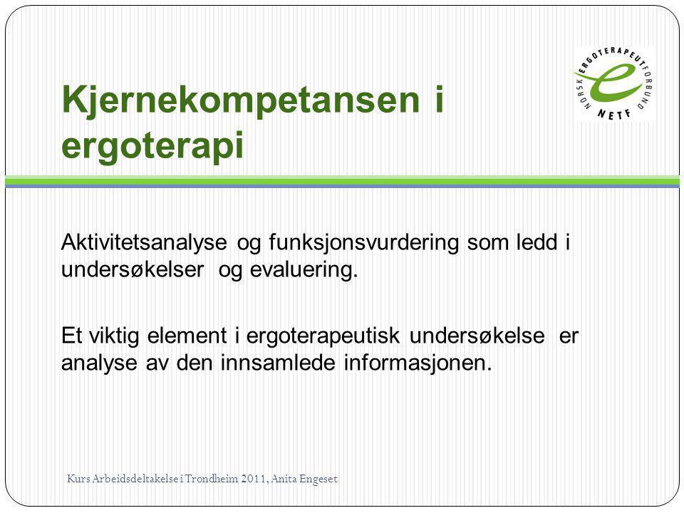 Kjernekompetansen i ergoterapi Aktivitetsanalyse og funksjonsvurdering som ledd i undersøkelser og evaluering. Et viktig element i ergoterapeutisk und